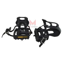 """NEW! Bicycle 861 Pedals With Toe Clips & Straps 9/16"""" Black"""