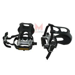 """NEW! Bicycle Alloy Pedals With Toe Clips & Straps 9/16"""" Blac"""