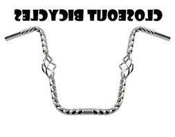 """Bicycle Twisted Cage Handlebar 16/"""" 25.4mm Chrome Lowrider Cruiser Chopper NEW"""