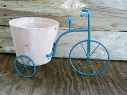New Blue Metal Planter Bike Holder Outdoor Plant Holder Flow