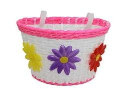 NEW! Kids Bicycle Basket White With 3 Flower Red/Yellow/Purp