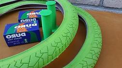 New PAIR of BMX Bicycle LIME NEON GREEN Street Tires & Tubes