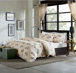 4 Piece Novelty Bicycles Printed Design Comforter Set King S