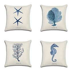 ONWAY Ocean Park Cotton Linen Theme Decorative Pillow Cover