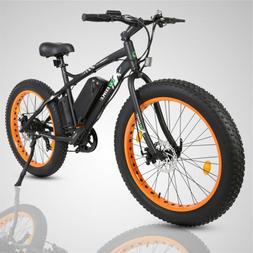 "26"" Orange 36V 500W Electric Fat Tire Beach Snow Bicycle Cit"