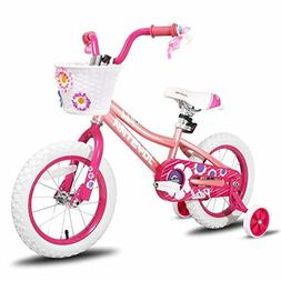 Pink Girls Bike with Training Wheels 3 4 5 Year Old Girls 14