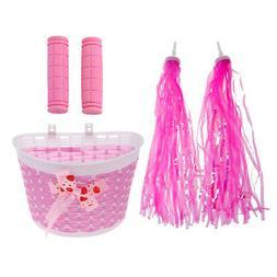 Pink Kids Girls Bike Streamers Tassels Handlebar Grip Covers
