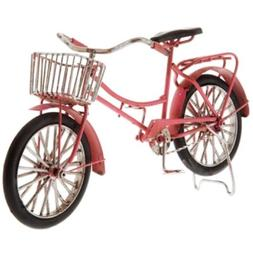 Pink Metal Bike with Basket. Cute Home Decor.