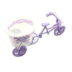 HUELE Purple Rattan bicycle Storage Basket floats Vase Plant