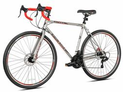"Kent Road Bike Silver 22.5"" Men Bicycle 21-Speed Shimano Dis"