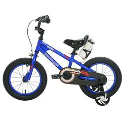 "RoyalBaby Royal Baby Hero 14"" Blue Bicycle Bike with trainin"