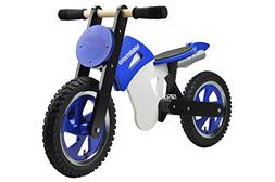 Kiddimoto Kids Scrambler Wooden Balance Bike - Blue/White, 1