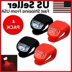 4 Pcs Silicone Bicycle Bike Cycle Safety LED Head Front & Re