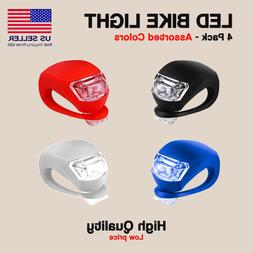 2 Pcs Silicone Bicycle Bike Cycle Safety LED Head Front & Re
