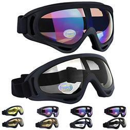 Outgeek Ski Goggles, 2-Pack Skate Glasses with UV 400 Protec