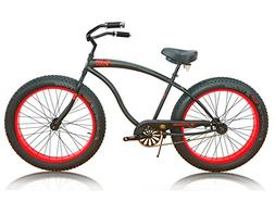 Micargi Slugo B Series Beach Cruiser Bike, Black with Red Ri