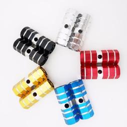Small Hollow Hex Aluminum Foot Bike Pegs Black Gold Red Blue