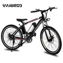 "Cosway Speed Electric Mountain Bicycle with 26"" Fat Tire Sus"