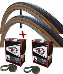 "TAC 9 Two Pack - 27x1-1/4"" Bike Tire, BONUS Tube and Rim Str"