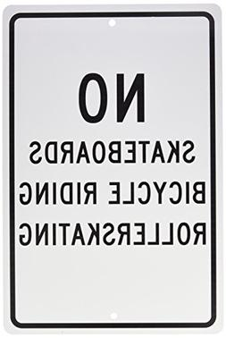 "NMC TM65H Traffic Sign, Legend ""NO SKATEBOARDS BICYCLE RIDIN"