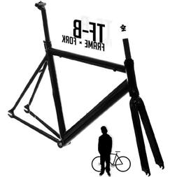 Track Fixie Road Bike Frame with Fork Black 47cm