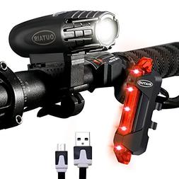 Outair USB Rechargeable Bike Light Set Powerful Lumens Bicyc