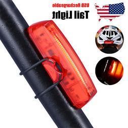 USB Bike Tail Light Red LED Bicycle Warning Rear Light Recha