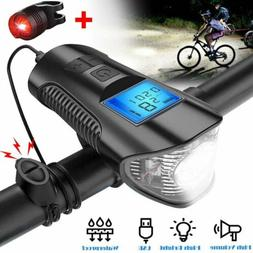 USB Rechargeable LED Bicycle Headlight Bike Front Rear Light
