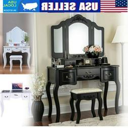 Vanity Makeup Table Dressing Desk Set Wood w/Stool, 3 Foldin