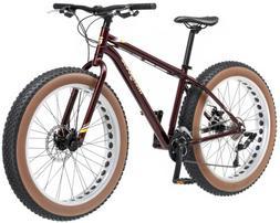 "Mongoose Vinson Fat Tire Bike, Burgundy, 26"" Wheel, Medium F"