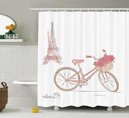 Ambesonne Vintage Decor Collection, Vintage Bike with Roses