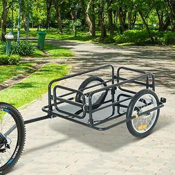 Aosom Wanderer Folding Bicycle Bike Cargo Storage Cart and L