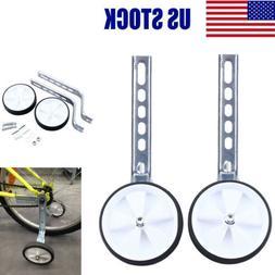 "White 12""-20"" Children Bicycle Bike Training Wheels Adjustab"