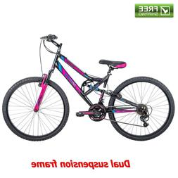 "Women's Mountain Bike 26"" Huffy Dual Suspension Sport Pink B"