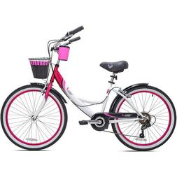 "Womens Beach Cruiser Bike 24"" Girls Bicycle 7-Speed Vintage"